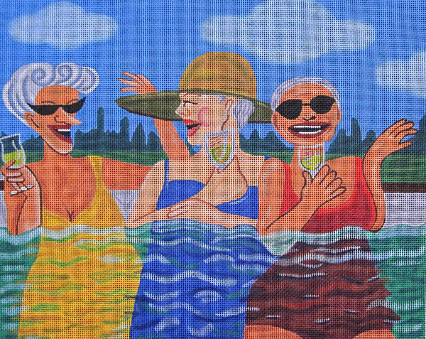 click here to view larger image of Pool Talk (hand painted canvases)