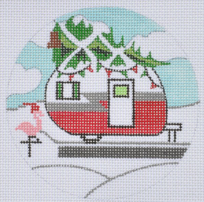 click here to view larger image of Christmas Campervan Round (hand painted canvases)