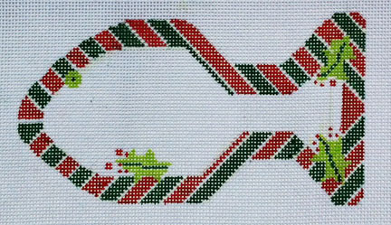 click here to view larger image of Candy Cane Cat Fish Ornament (hand painted canvases)