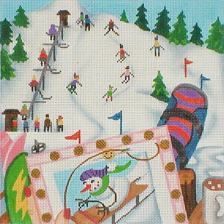 click here to view larger image of Stitching On The Go! - Stitching At The Ski Resort (hand painted canvases)