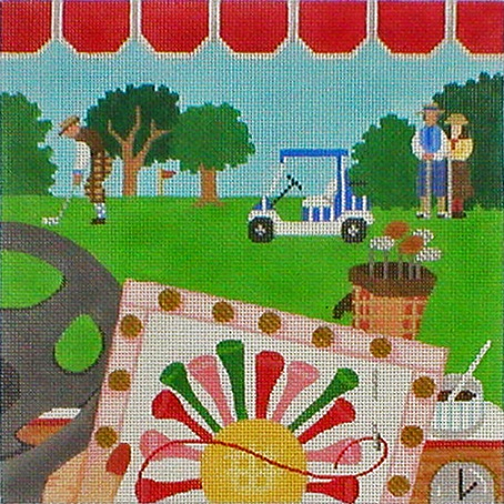 click here to view larger image of Stitching On The Go! - Stitching At The Golf Course (hand painted canvases)
