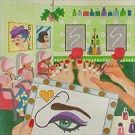click here to view larger image of Stitching On The Go! - Stitching At The Beauty Salon (hand painted canvases)