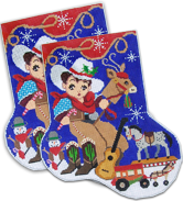 click here to view larger image of Little Cowboy Midi Sock (hand painted canvases)