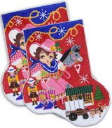 click here to view larger image of L'il Christmas Cowgirl Big Sock (hand painted canvases)