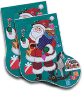 click here to view larger image of Merry Santa Big Sock (hand painted canvases)