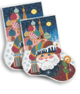 click here to view larger image of Russian Santa Midi Sock (hand painted canvases)
