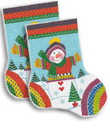 click here to view larger image of Knitted Snowman Midi Sock (hand painted canvases)