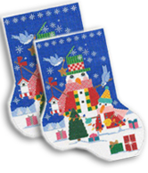 click here to view larger image of Birdie The Snowman Midi Sock (hand painted canvases)
