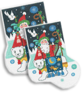 click here to view larger image of Magical Polar Santa Sock (hand painted canvases)