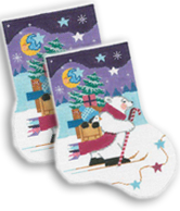 click here to view larger image of Cross Country Skiing Polar Bear Sock (hand painted canvases)