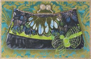 click here to view larger image of Green Feather Evening Bag (hand painted canvases)