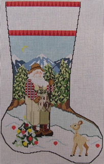 click here to view larger image of Fishing Santa Stocking (hand painted canvases)