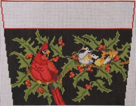 click here to view larger image of Birds Stocking Cuff 2 (hand painted canvases)