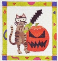 click here to view larger image of Chainsaw Kitty with Border (hand painted canvases)