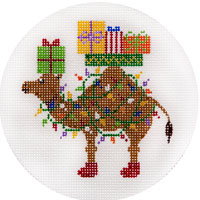 click here to view larger image of Camel With Christmas Lights Ornament (hand painted canvases)