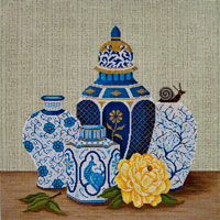 click here to view larger image of Blue Pots and Yellow Peony (hand painted canvases)