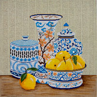 click here to view larger image of Blue Vases and Lemons (hand painted canvases)