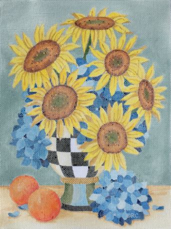 click here to view larger image of Sunflowers/Hydrangeas (hand painted canvases)