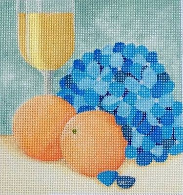 click here to view larger image of Hydrangea and Oranges (hand painted canvases)