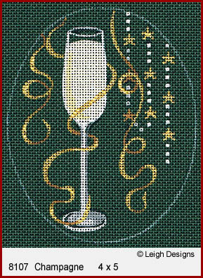 click here to view larger image of Christmas Cocktails - Champagne (hand painted canvases)