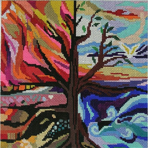 click here to view larger image of Four Seasons Tefillin Bag (hand painted canvases)
