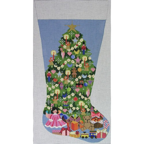 click here to view larger image of Christmas Tree Stocking (hand painted canvases)