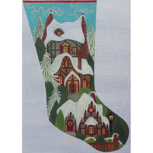 click here to view larger image of Cottage Hill Stocking (hand painted canvases)