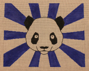 click here to view larger image of Handbag - Panda Bear With Blue Rays (hand painted canvases)