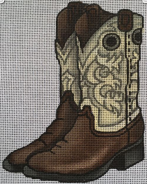 click here to view larger image of Brown and White Boots (hand painted canvases)