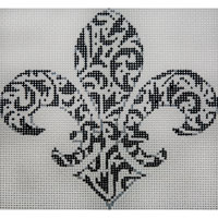 click here to view larger image of Black and White Damask Fleur (hand painted canvases)