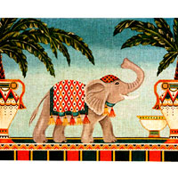 click here to view larger image of Egyptian Elephant and Palms (hand painted canvases)