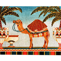click here to view larger image of Egyptian Camel and Palms (hand painted canvases)