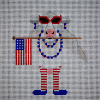 click here to view larger image of Patriotic Cow (hand painted canvases)
