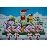 click here to view larger image of Candy Cane Freight Car (hand painted canvases)