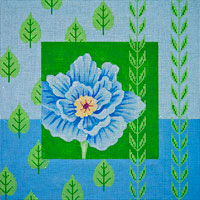 click here to view larger image of Blue Peony and Leaves (hand painted canvases)