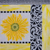 click here to view larger image of Black White and Yellow Patch With Daisy (hand painted canvases)