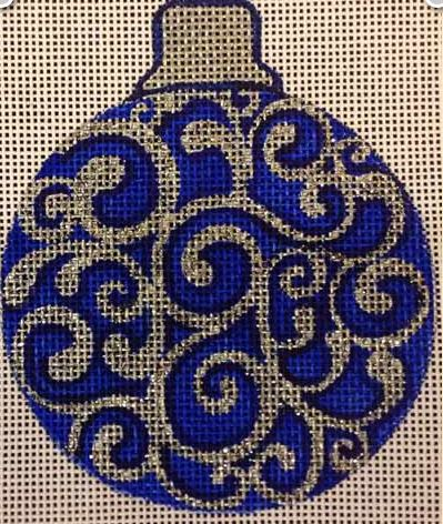 click here to view larger image of Blue Sparkle Ornament (hand painted canvases)