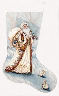 click here to view larger image of Olde White Santa Stocking (hand painted canvases)