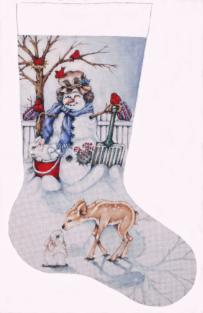 click here to view larger image of Snowman Stocking (hand painted canvases)