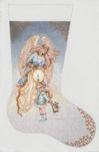 click here to view larger image of Angels Watching Over Me Stocking (hand painted canvases)