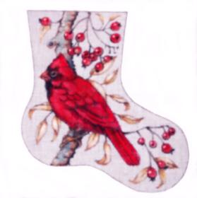 click here to view larger image of Cardinal Mini Stocking (hand painted canvases)