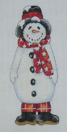 click here to view larger image of Snowman With Red Scarf Ornament (hand painted canvases)