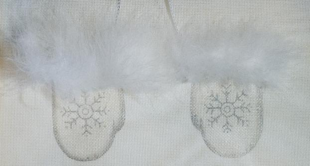 click here to view larger image of Snowflake Mittens Ornament (hand painted canvases)