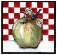 click here to view larger image of Apple Check (hand painted canvases)