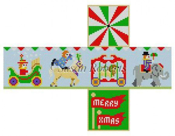 click here to view larger image of Circus Parade Cube Ornament - 18ct (hand painted canvases)