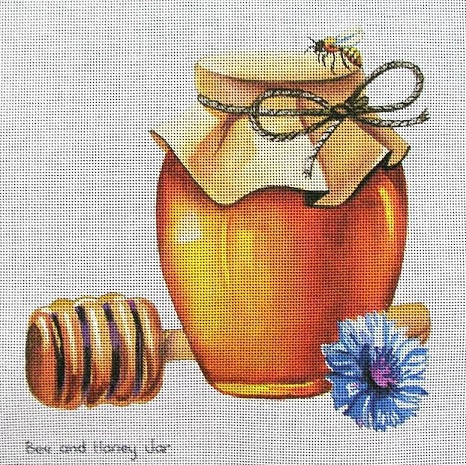 click here to view larger image of Bee on Honey Jar (hand painted canvases)