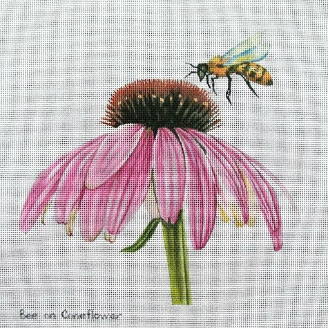 click here to view larger image of Bee On Coneflower (hand painted canvases)