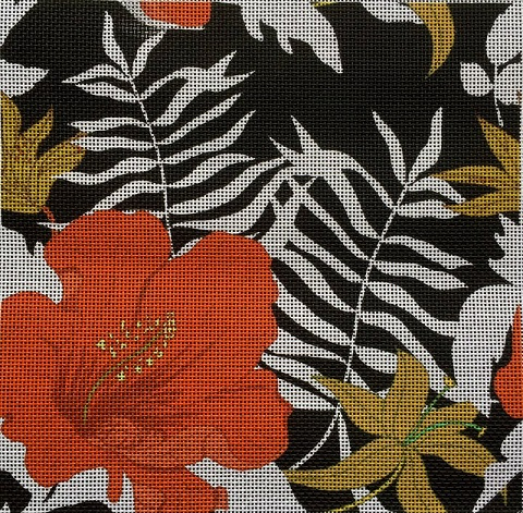 click here to view larger image of Hibiscus On Navy (hand painted canvases)