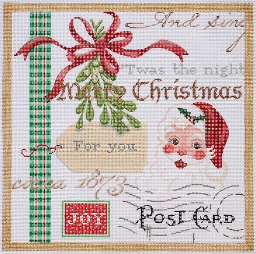 click here to view larger image of Christmas Collage 1 - Santa and Mistletoe (hand painted canvases)