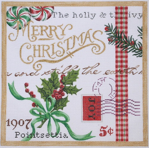 click here to view larger image of Christmas Collage 2 - Holly and Peppermints (hand painted canvases)